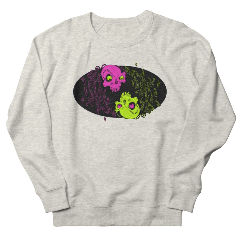 Two skulls (ok, it's a lot of skulls, but 2 big ones) Men's French Terry Sweatshirt by Mightywombat's Artist Shop