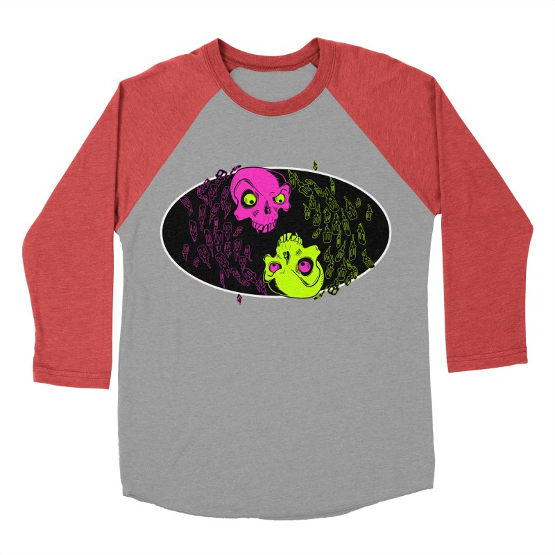 Two skulls (ok, it's a lot of skulls, but 2 big ones) Men's Baseball Triblend T-Shirt by mightywombat's Artist Shop