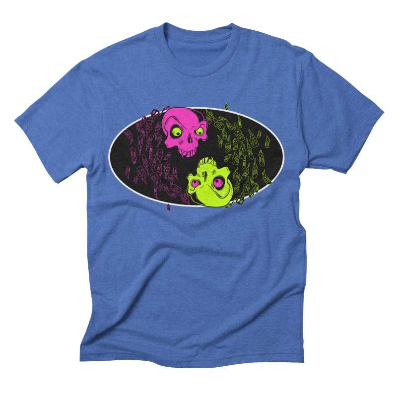 Two skulls (ok, it's a lot of skulls, but 2 big ones) Men's Triblend T-shirt by mightywombat's Artist Shop
