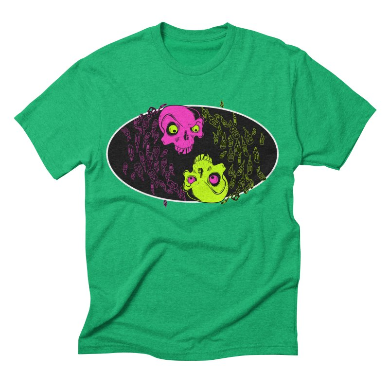 Two skulls (ok, it's a lot of skulls, but 2 big ones) Men's Triblend T-shirt by mightywombat's Artist Shop