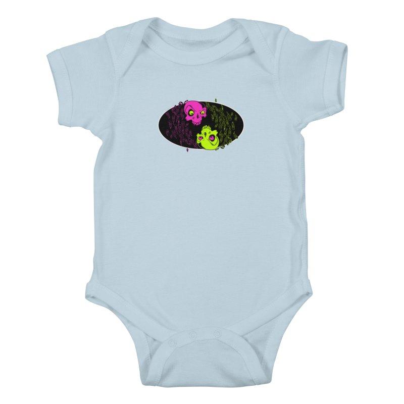 Two skulls (ok, it's a lot of skulls, but 2 big ones) Kids Baby Bodysuit by Mightywombat's Artist Shop