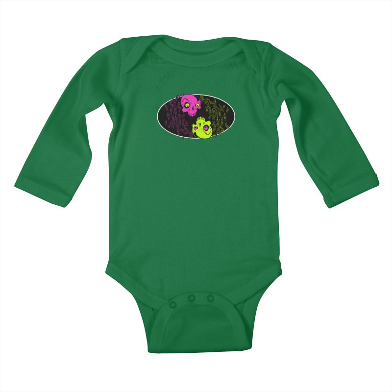 Two skulls (ok, it's a lot of skulls, but 2 big ones) Kids Baby Longsleeve Bodysuit by mightywombat's Artist Shop