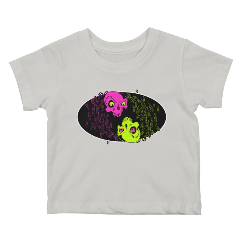 Two skulls (ok, it's a lot of skulls, but 2 big ones) Kids Baby T-Shirt by Mightywombat's Artist Shop
