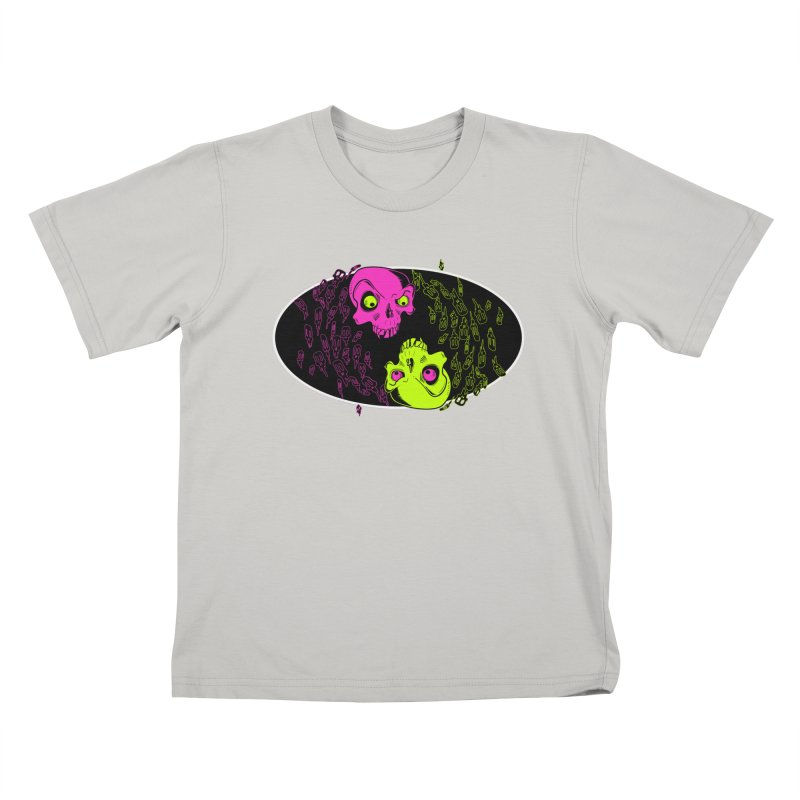 Two skulls (ok, it's a lot of skulls, but 2 big ones) Kids T-shirt by mightywombat's Artist Shop