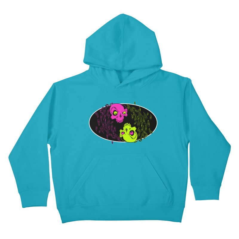 Two skulls (ok, it's a lot of skulls, but 2 big ones) Kids Pullover Hoody by mightywombat's Artist Shop