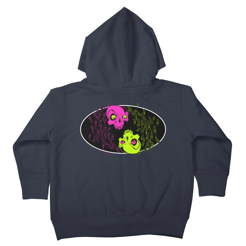 Two skulls (ok, it's a lot of skulls, but 2 big ones) Kids Toddler Zip-Up Hoody by Mightywombat's Artist Shop