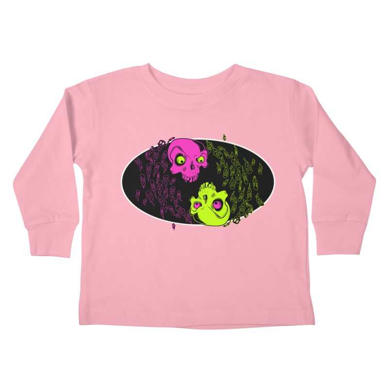 Two skulls (ok, it's a lot of skulls, but 2 big ones) Kids Toddler Longsleeve T-Shirt by Mightywombat's Artist Shop