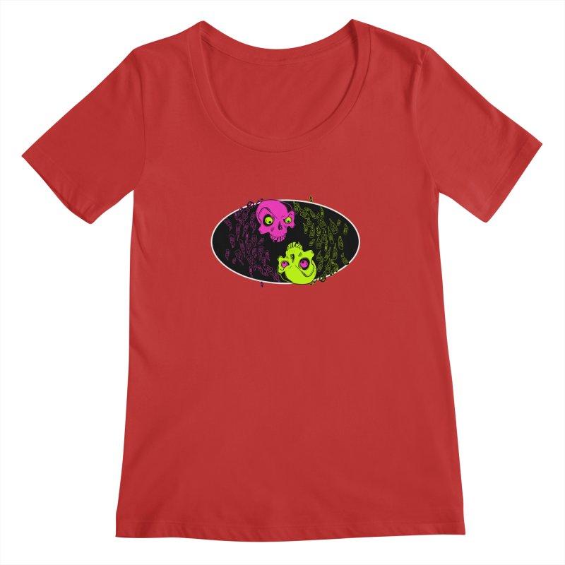 Two skulls (ok, it's a lot of skulls, but 2 big ones) Women's Regular Scoop Neck by Mightywombat's Artist Shop