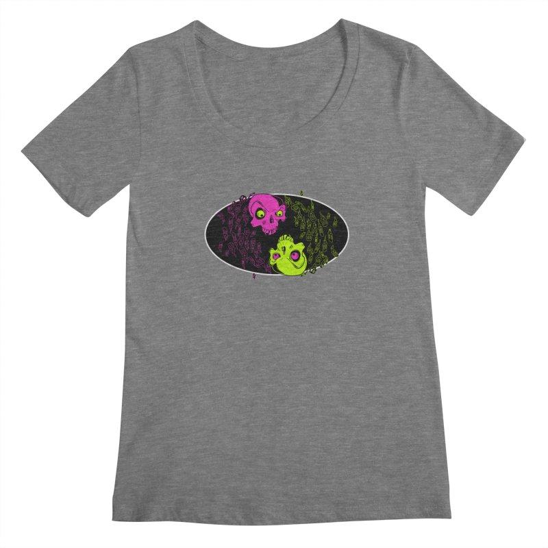 Two skulls (ok, it's a lot of skulls, but 2 big ones) Women's Scoopneck by mightywombat's Artist Shop