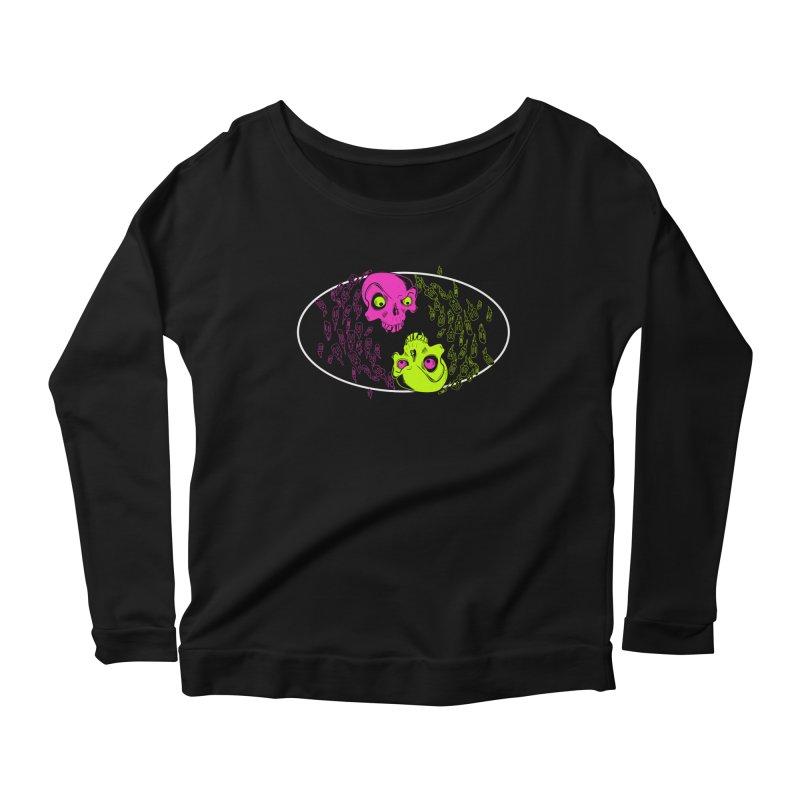 Two skulls (ok, it's a lot of skulls, but 2 big ones) Women's Scoop Neck Longsleeve T-Shirt by Mightywombat's Artist Shop