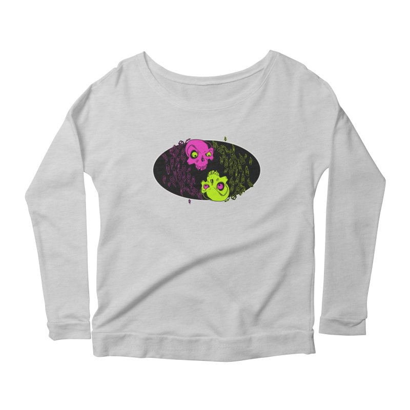Two skulls (ok, it's a lot of skulls, but 2 big ones) Women's Longsleeve Scoopneck  by Mightywombat's Artist Shop