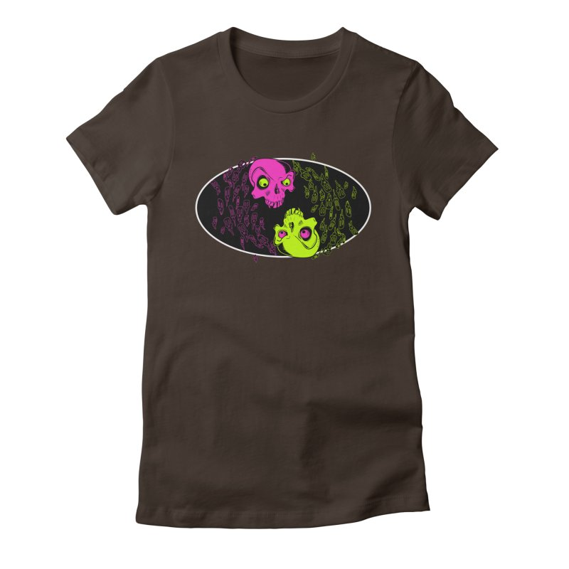 Two skulls (ok, it's a lot of skulls, but 2 big ones) Women's Fitted T-Shirt by mightywombat's Artist Shop