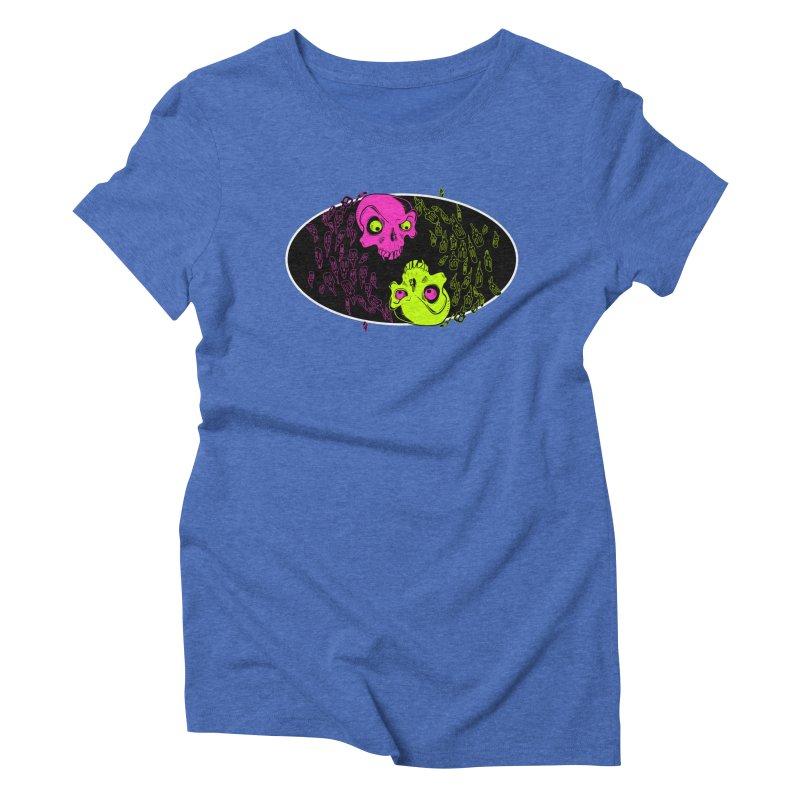 Two skulls (ok, it's a lot of skulls, but 2 big ones) Women's Triblend T-shirt by mightywombat's Artist Shop