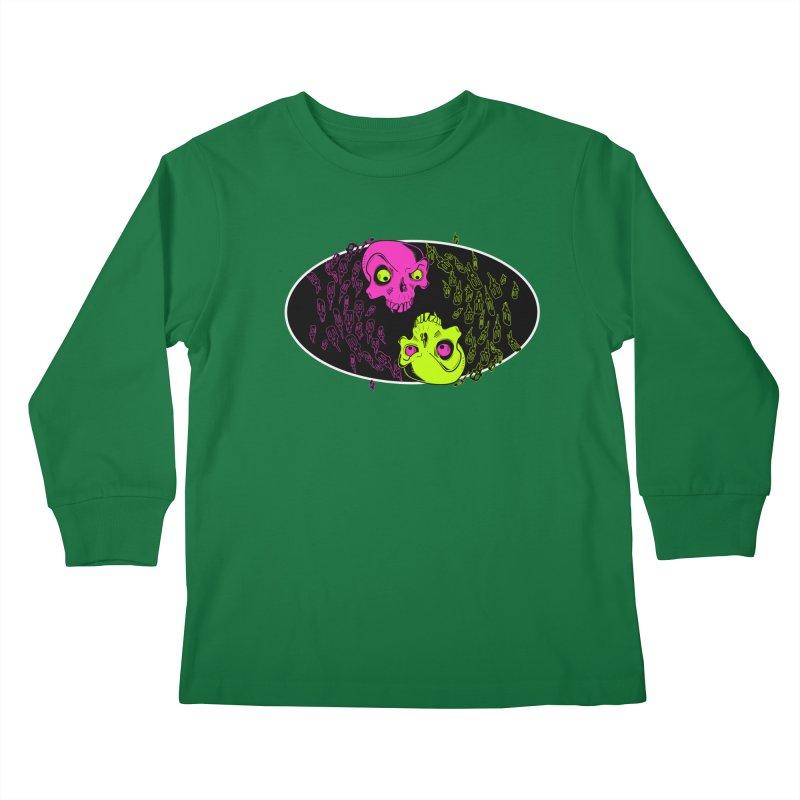 Two skulls (ok, it's a lot of skulls, but 2 big ones) Kids Longsleeve T-Shirt by Mightywombat's Artist Shop