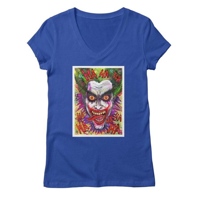 The Joker portrait Women's V-Neck by Miguel Valenzuela