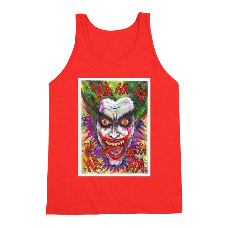 The Joker portrait Men's Tank by Miguel Valenzuela