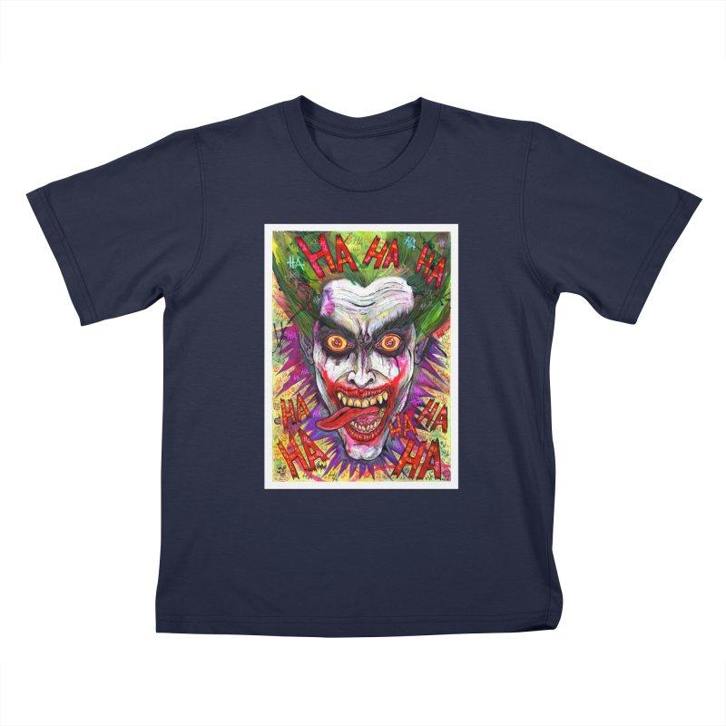 The Joker portrait Kids T-Shirt by Miguel Valenzuela
