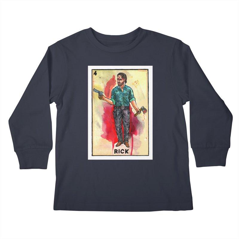 Rick Grimes Kids Longsleeve T-Shirt by Miguel Valenzuela