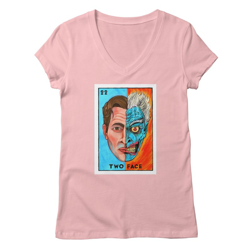 Two Face Women's V-Neck by Miguel Valenzuela