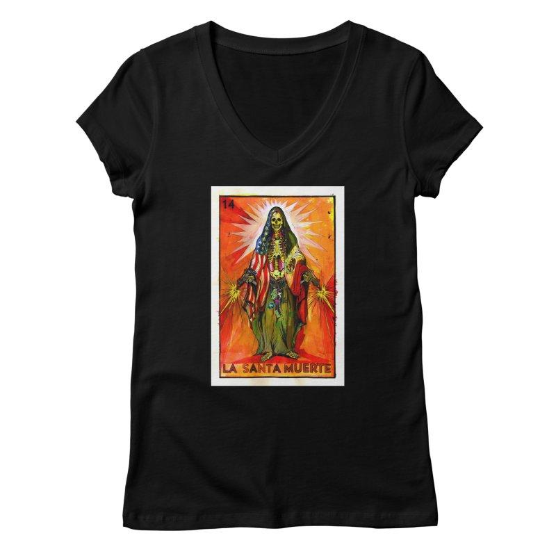 La Santa Muerte Women's V-Neck by Miguel Valenzuela