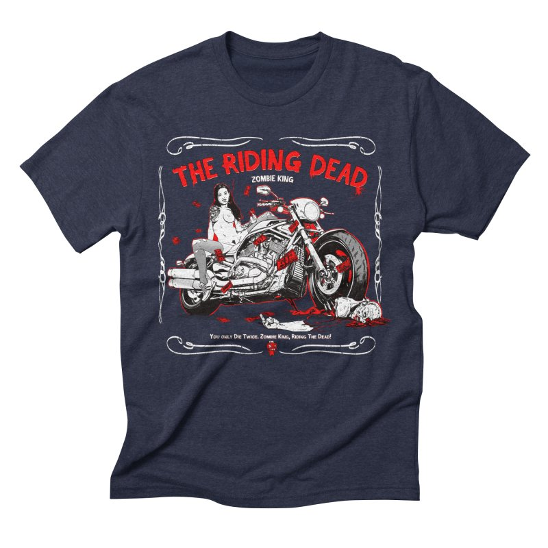 The Riding Dead in Men's Triblend T-shirt Navy by Mika's Artist Shop