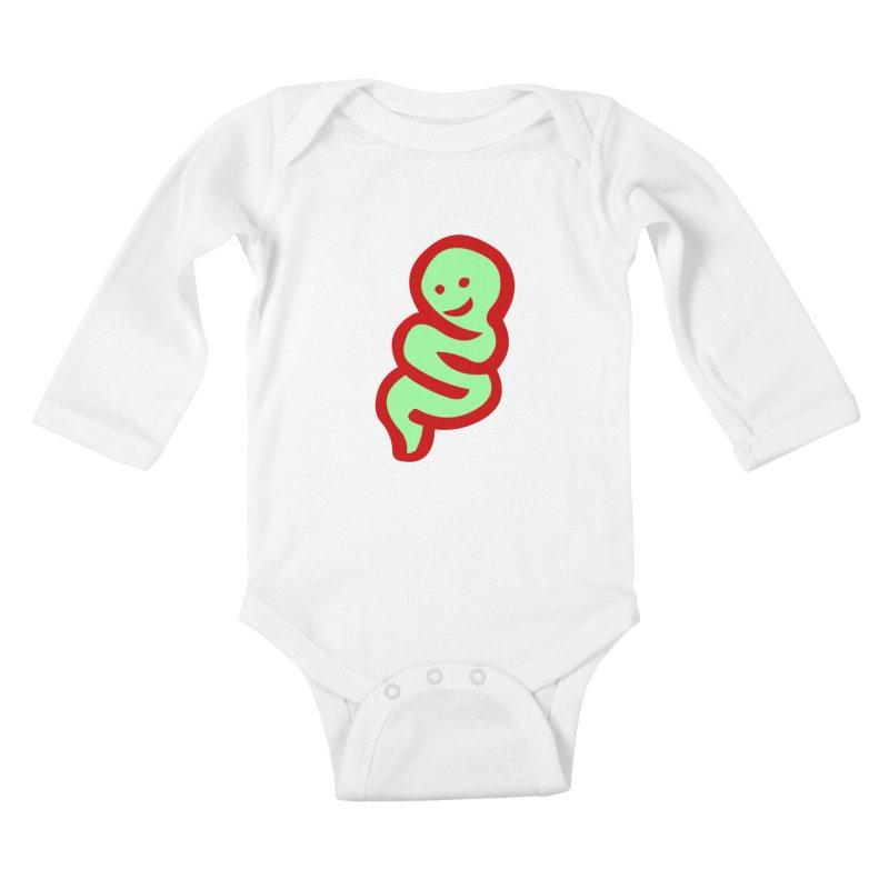 Happy worm Kids Baby Longsleeve Bodysuit by mikbulp's Artist Shop