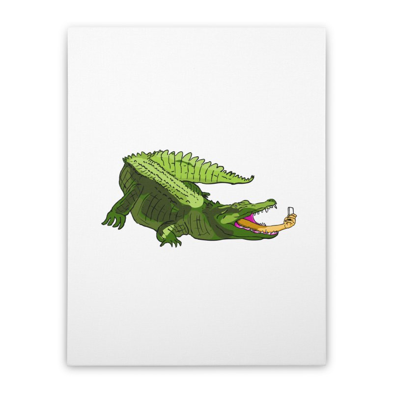 selfie with kroko Home Stretched Canvas by mikbulp's Artist Shop