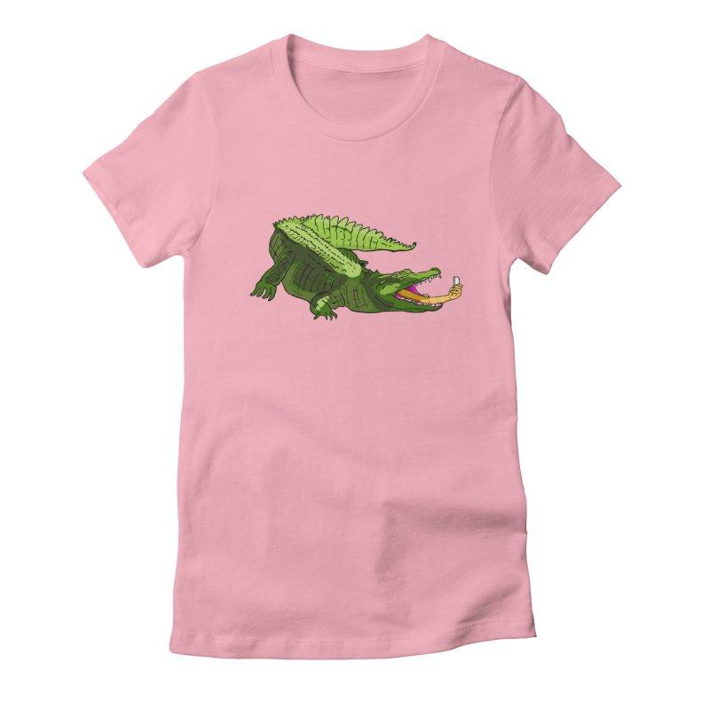 selfie with kroko Women's Fitted T-Shirt by mikbulp's Artist Shop