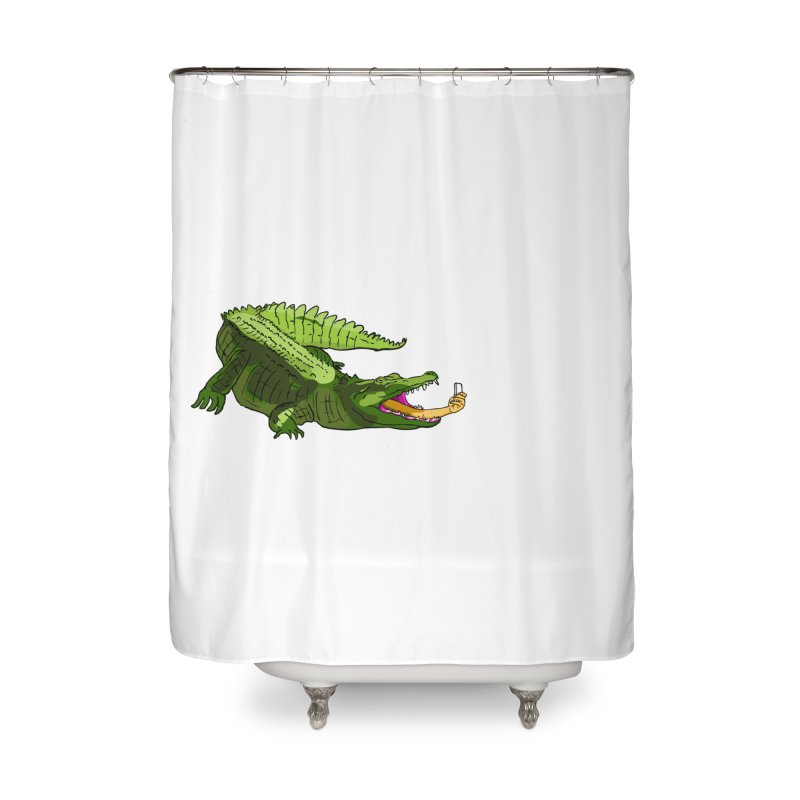 selfie with kroko Home Shower Curtain by mikbulp's Artist Shop