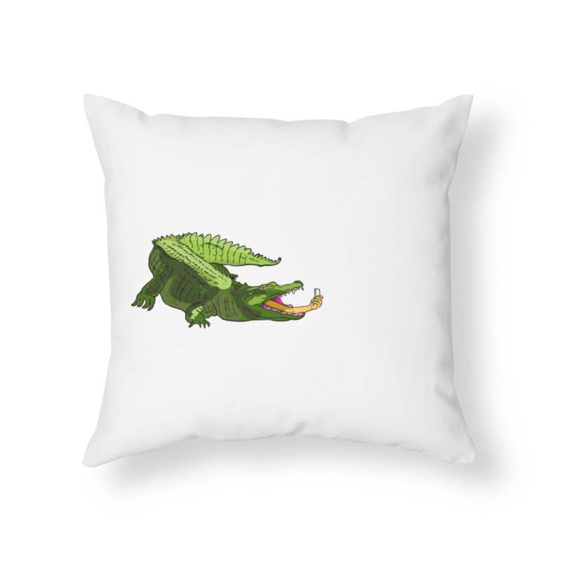 selfie with kroko Home Throw Pillow by mikbulp's Artist Shop