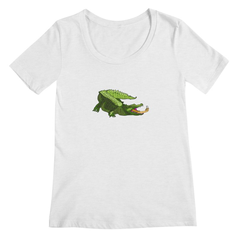 selfie with kroko Women's Regular Scoop Neck by mikbulp's Artist Shop