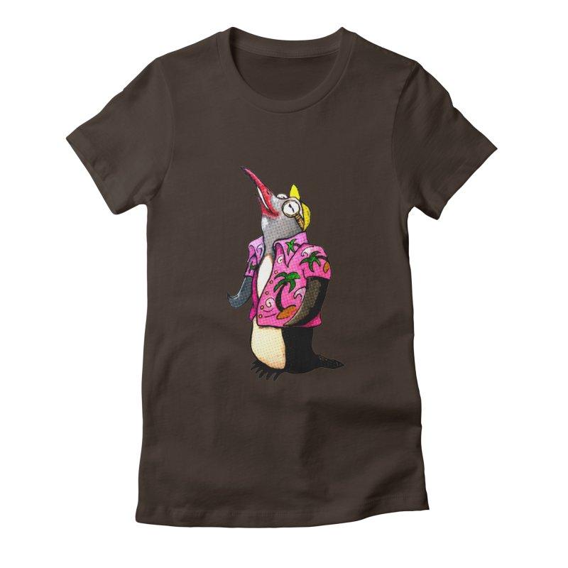 hawaian pingu Women's Fitted T-Shirt by mikbulp's Artist Shop