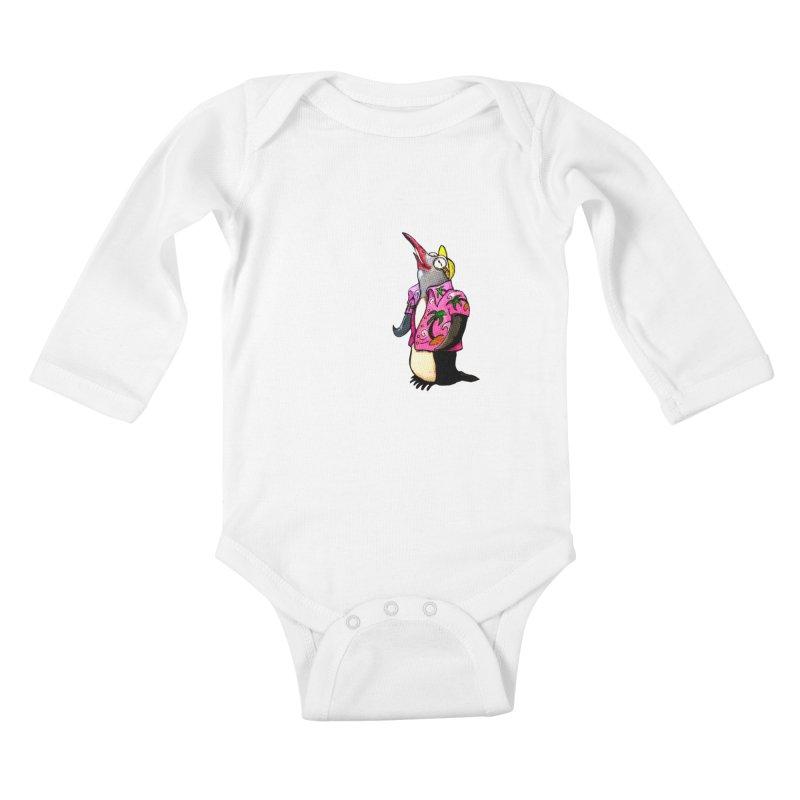 hawaian pingu Kids Baby Longsleeve Bodysuit by mikbulp's Artist Shop