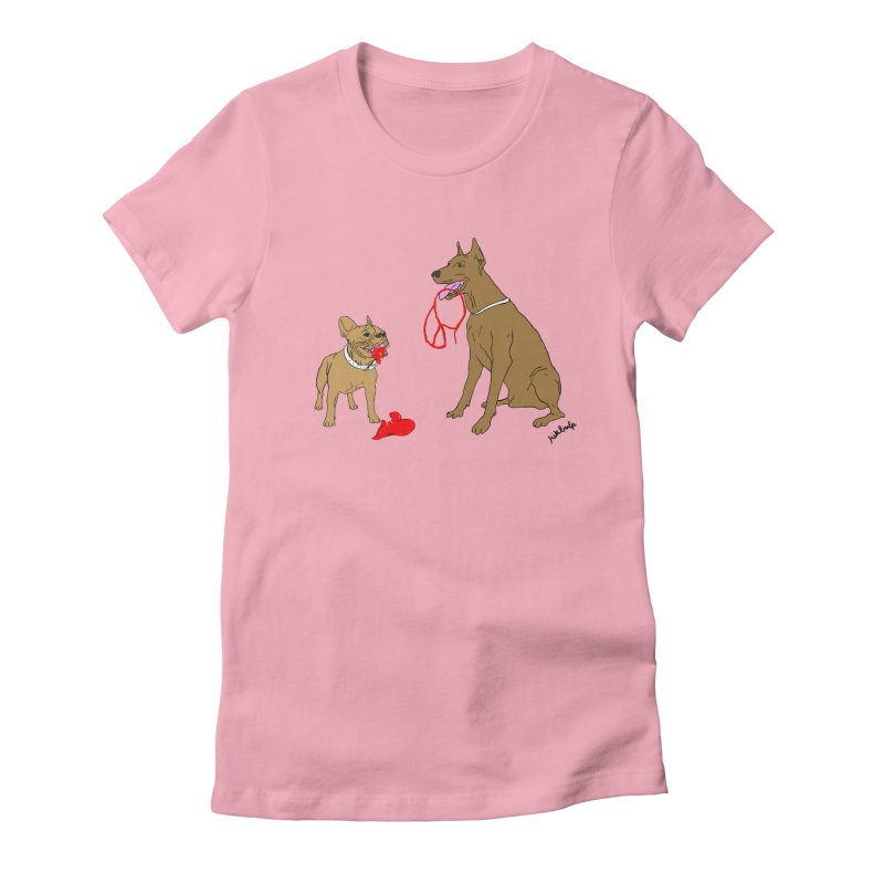 peace & love & dogs Women's Fitted T-Shirt by mikbulp's Artist Shop