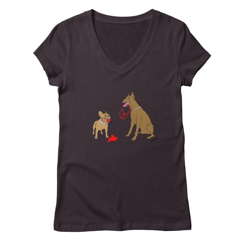 peace & love & dogs Women's Regular V-Neck by mikbulp's Artist Shop