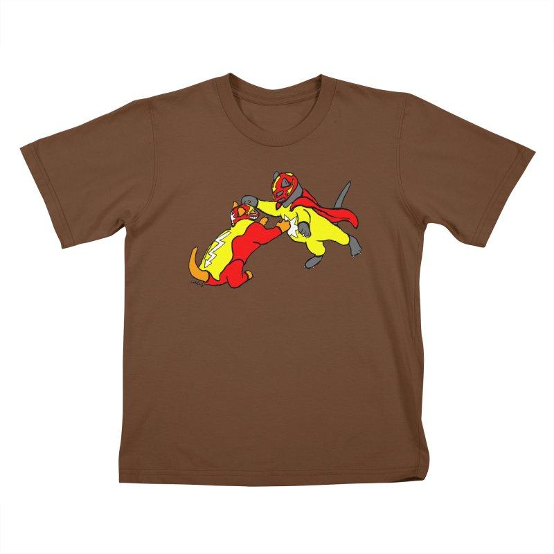 wrestle cats Kids T-Shirt by mikbulp's Artist Shop