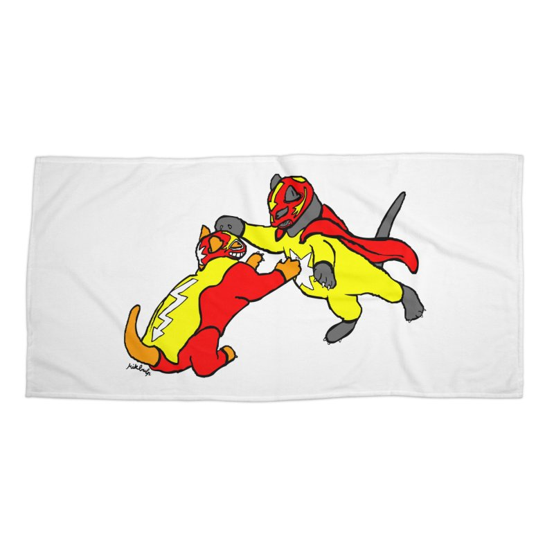wrestle cats Accessories Beach Towel by mikbulp's Artist Shop