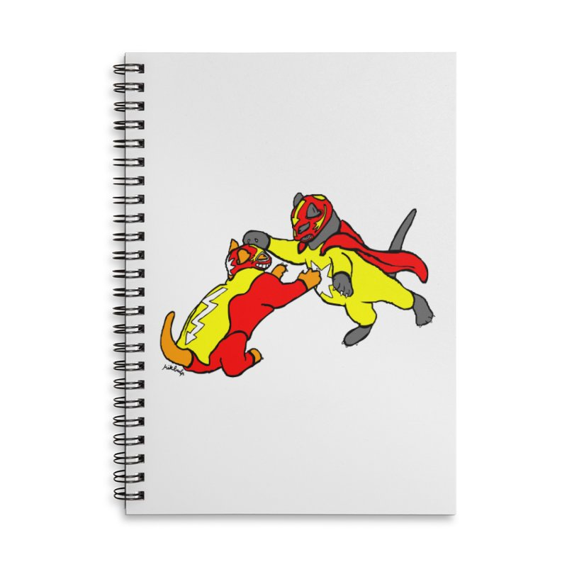 wrestle cats Accessories Lined Spiral Notebook by mikbulp's Artist Shop