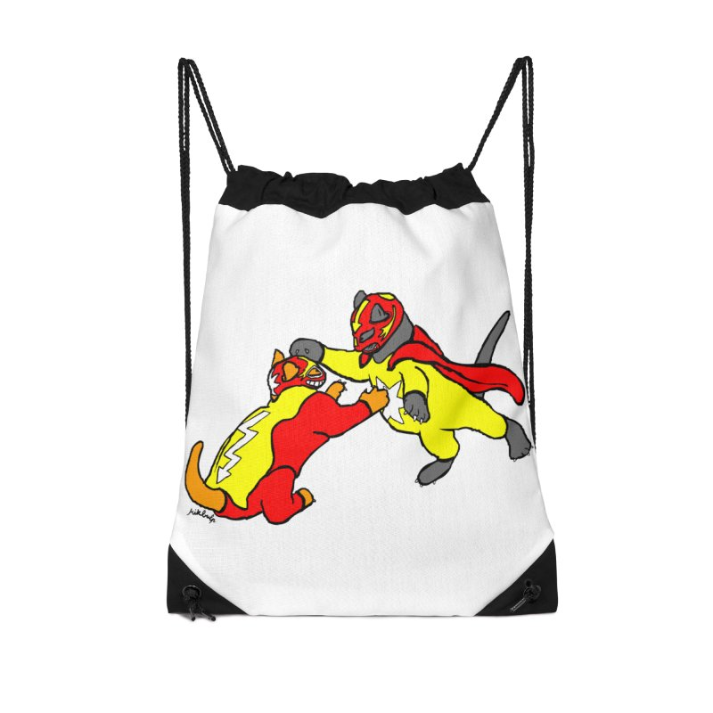 wrestle cats Accessories Drawstring Bag Bag by mikbulp's Artist Shop