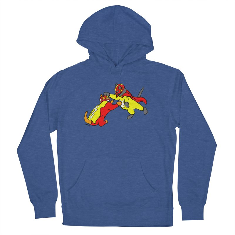 wrestle cats Men's French Terry Pullover Hoody by mikbulp's Artist Shop