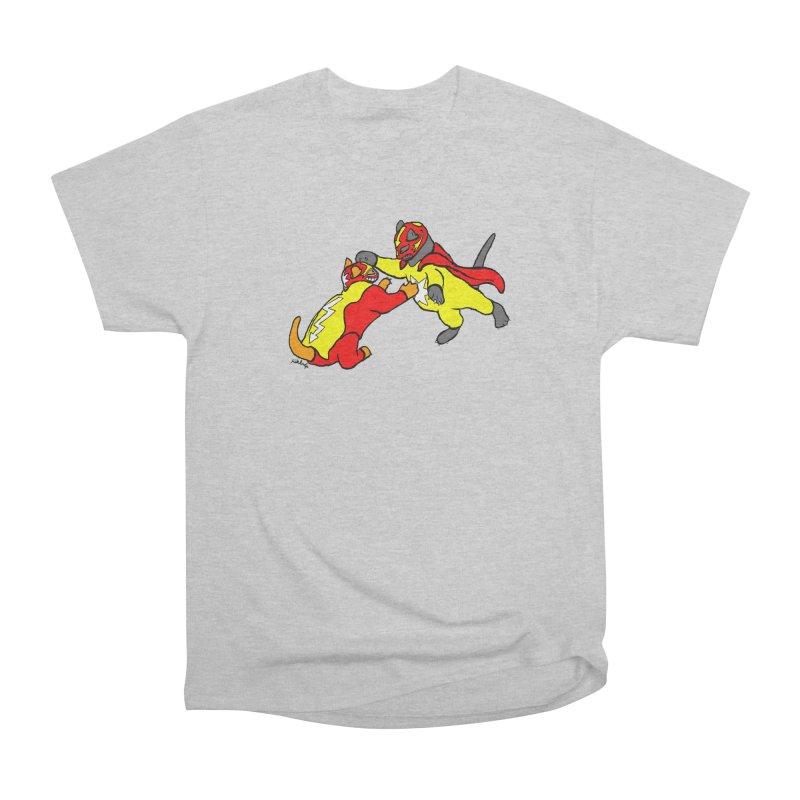 wrestle cats Women's Heavyweight Unisex T-Shirt by mikbulp's Artist Shop
