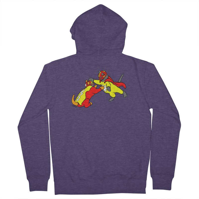 wrestle cats Men's French Terry Zip-Up Hoody by mikbulp's Artist Shop