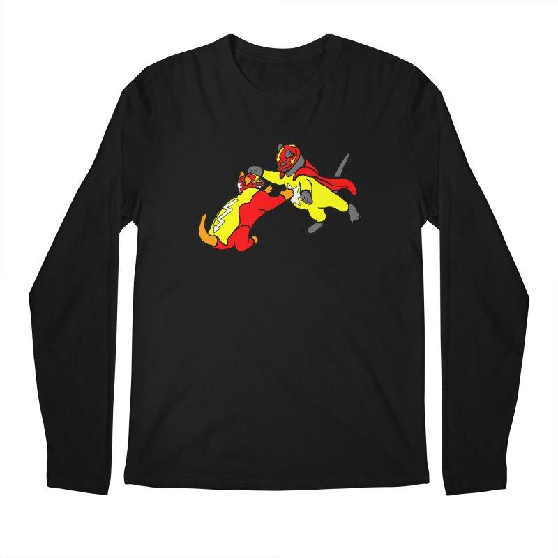 wrestle cats Men's Longsleeve T-Shirt by mikbulp's Artist Shop