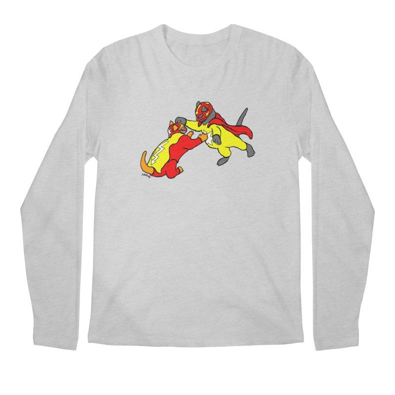 wrestle cats Men's Regular Longsleeve T-Shirt by mikbulp's Artist Shop