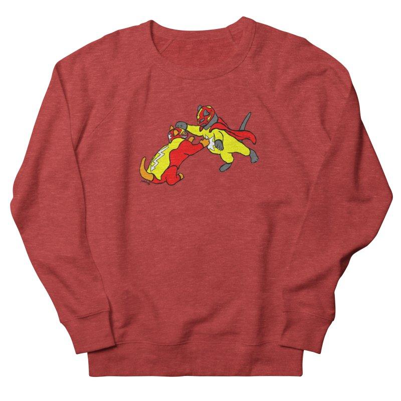 wrestle cats Women's French Terry Sweatshirt by mikbulp's Artist Shop