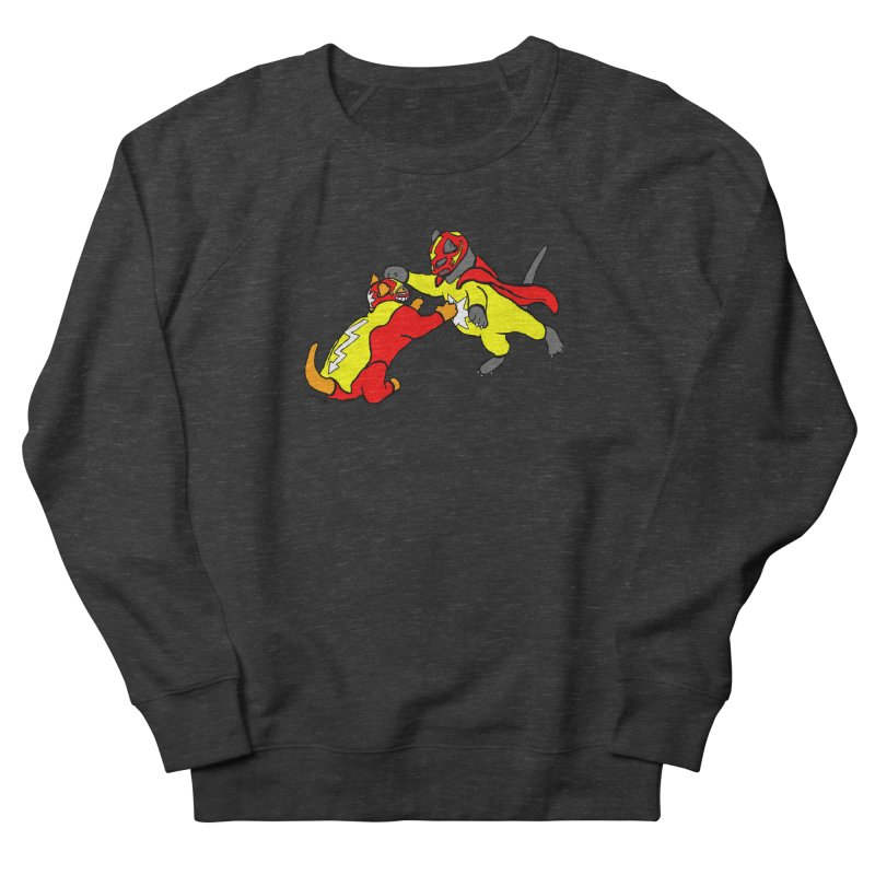 wrestle cats Men's French Terry Sweatshirt by mikbulp's Artist Shop