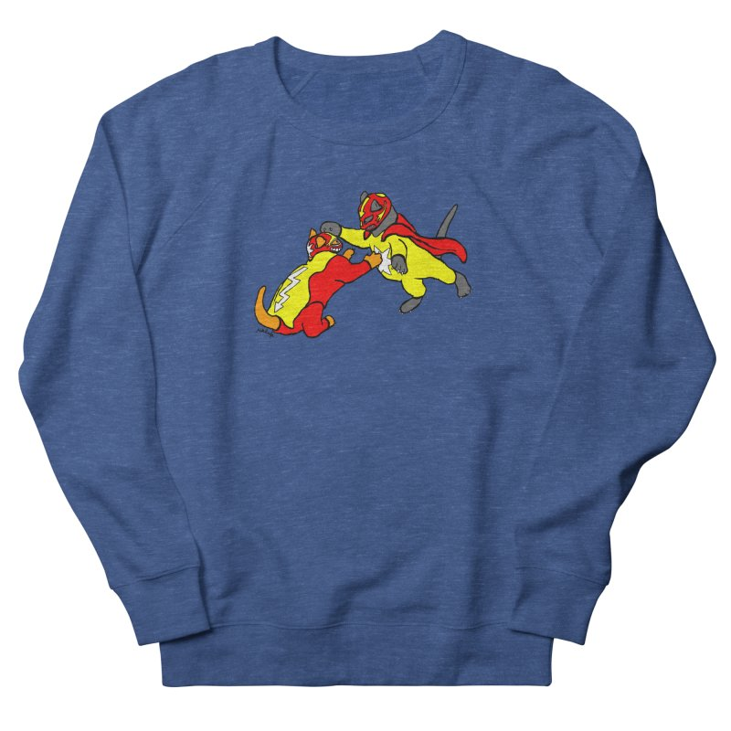 wrestle cats Men's French Terry Sweatshirt by mikbulp's Artist Shop