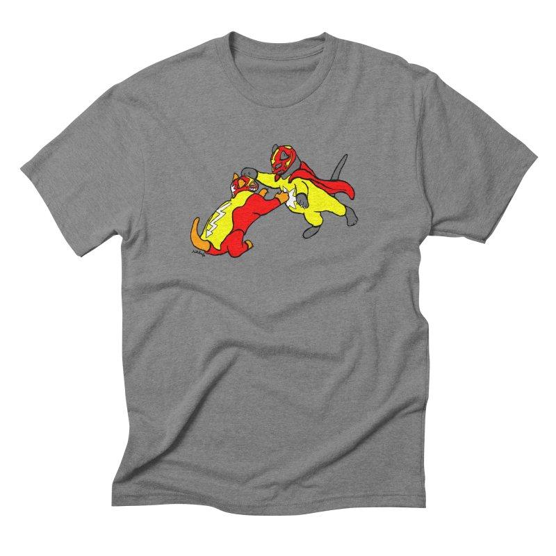 wrestle cats Men's Triblend T-Shirt by mikbulp's Artist Shop