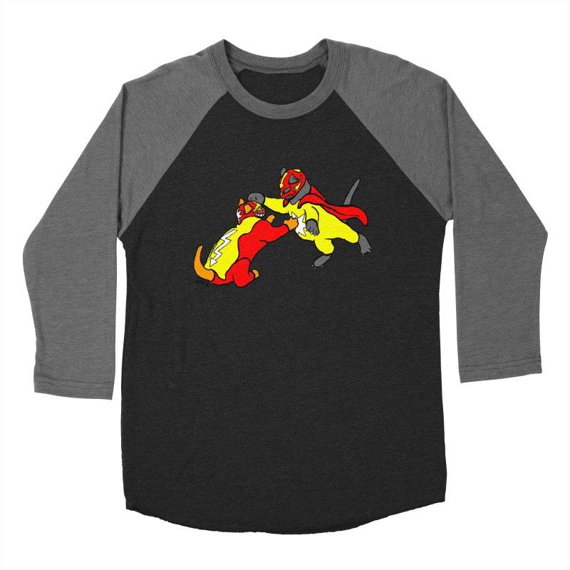 wrestle cats Men's Baseball Triblend T-Shirt by mikbulp's Artist Shop