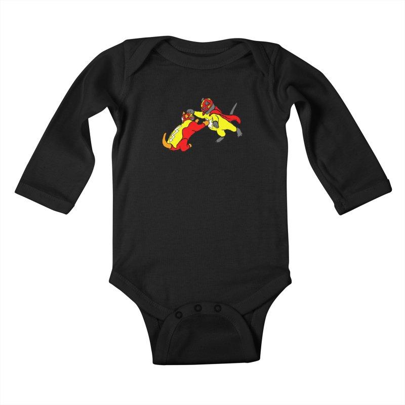 wrestle cats Kids Baby Longsleeve Bodysuit by mikbulp's Artist Shop